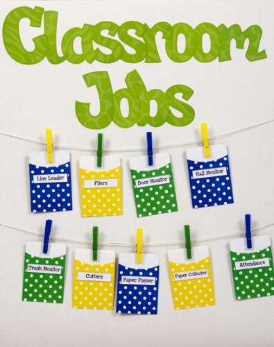 Library Pockets Classroom Jobs Chart