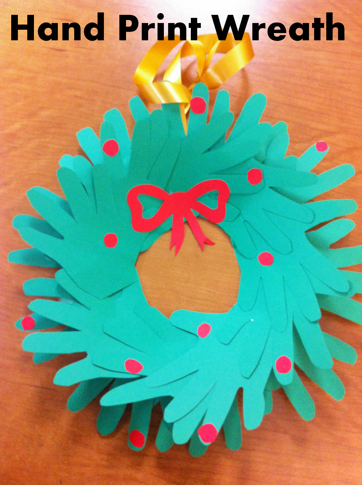 Classroom Craft Ideas ~ Christmas craft for kids hand print wreath teacher