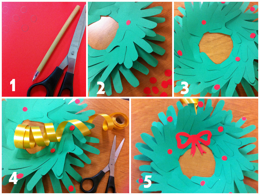 Christmas decorations using construction paper - Hand Print Wreath