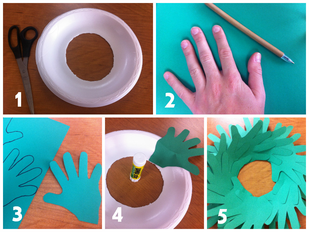 christmas craft for kids hand print wreath teacher created tips