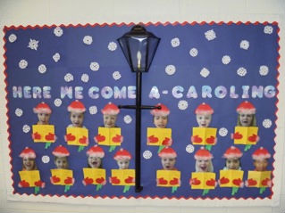 fill the bulletin board with blue paper - Christmas Bulletin Boards For Preschool