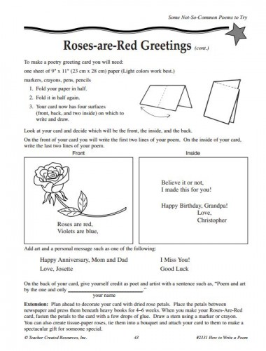 Free Poem Activity 2331 Teacher Created Resources