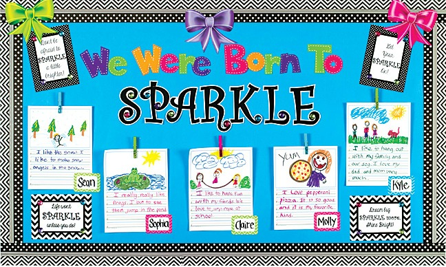 Display Student Work On A Sparkle Bulletin Board