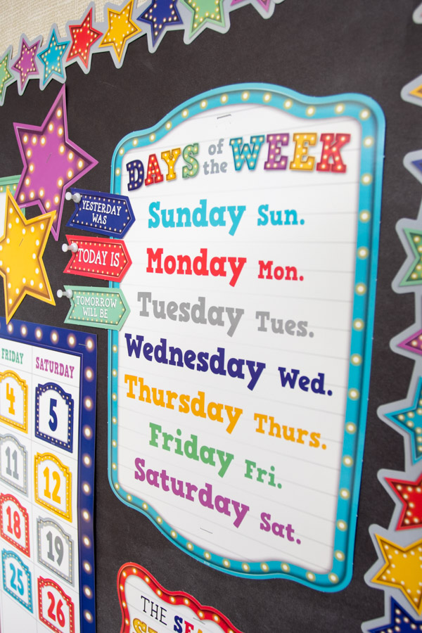 Days of the Week Bulletin Board